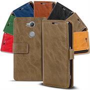 Retro Klapptasche für Sony Xperia XA2 Book Cover Hülle Tasche mit Kartenfächer