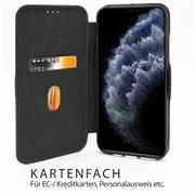 Shell Flip Case für Huawei P40 Lite 5G Hülle Handy Tasche mit Kartenfach Premium Schutzhülle