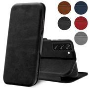 Shell Flip Case für Samsung Galaxy S21 Hülle Handy Tasche mit Kartenfach Premium Schutzhülle