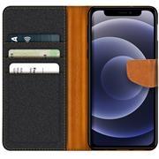 Denim Handy Tasche für Apple iPhone 12 Mini Hülle Jeans Look Book Case Schutzhülle