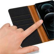 Denim Handy Tasche für Apple iPhone 12 Pro Max Hülle Jeans Look Book Case Schutzhülle
