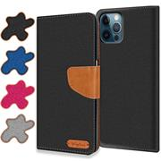 Denim Handy Tasche für Apple iPhone 12 / 12 Pro Hülle Jeans Look Book Case Schutzhülle