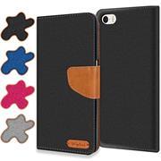 Book Wallet für Apple iPhone 5 / 5S / SE Schutzhülle im Jeans-Look