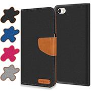 Textil Klapphülle für Apple iPhone 5 / 5S / SE - Hülle im Jeans Stoff Design Wallet Tasche