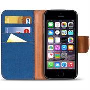 Textil Klapphülle für Apple iPhone 5C - Hülle im Jeans Stoff Design Wallet Tasche