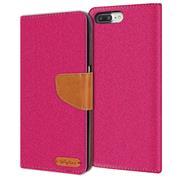 Book Wallet Hülle für Apple iPhone 8 Plus Schutzhülle im Jeans-Look