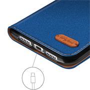 Book Wallet für Apple iPhone XR klappbare Schutzhülle im Jeans-Look