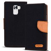 Textil Klapphülle für Honor 7 - Hülle im Jeans Stoff Design Wallet Tasche