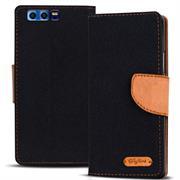 Textil Klapphülle für Honor 9 - Hülle im Jeans Stoff Design Wallet Tasche
