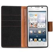 Book Wallet Tasche für Huawei Ascend G510 Schutzhülle im Jeans-Look