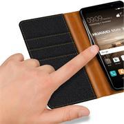 Book Wallet für Huawei Mate 9 Schutzhülle im Jeans-Look aufstellbar