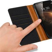 Book Wallet für Huawei Nova Plus Schutzhülle im Jeans-Look aufstellbar