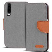 Book Wallet Hülle für Huawei P30 Schutzhülle im Jeans-Look