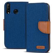 Book Wallet Hülle für Huawei P30 Lite Schutzhülle im Jeans-Look