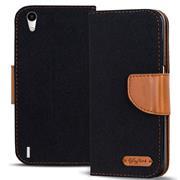 Handy  Tasche für Huawei P7 Hülle Wallet Jeans Case Schutzhülle