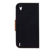 Book Wallet für Huawei Ascend P7 Schutzhülle im Jeans-Look aufstellbar