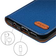 Textil Klapphülle für Huawei P8 Lite 2017 - Hülle im Jeans Stoff Design Wallet Tasche