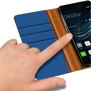 Book Wallet für Huawei P9 Lite Schutzhülle im Jeans-Look aufstellbar