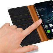 Textil Klapphülle für Huawei P9 Plus - Hülle im Jeans Stoff Design Wallet Tasche