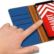 Book Wallet für Huawei P Smart Schutzhülle im Jeans-Look aufstellbar
