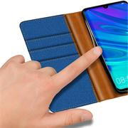 Book Wallet Hülle für Huawei P Smart Plus 2019 Schutzhülle im Jeans-Look aufstellbar