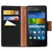 Book Wallet für Huawei Ascend Y3 Schutzhülle im Jeans-Look aufstellbar