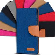 Textil Klapphülle für Huawei Ascend Y625 - Hülle im Jeans Stoff Design Wallet Tasche