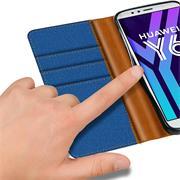 Textil Klapphülle für Huawei Y6 2018 - Hülle im Jeans Stoff Design Wallet Tasche