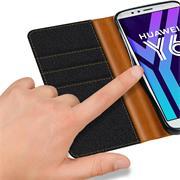 Handy Tasche für Huawei Y6 2018 Hülle Wallet Jeans Case Schutzhülle