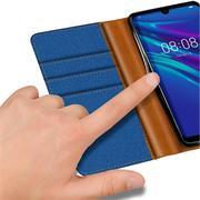 Book Wallet Hülle für Huawei Y6 2019 Schutzhülle im Jeans-Look aufstellbar