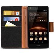 Book Wallet für Huawei Y6 II Schutzhülle im Jeans-Look aufstellbar