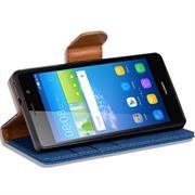 Book Wallet für Huawei Y6 Schutzhülle im Jeans-Look mit Kartenfächer