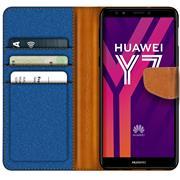 Book Wallet für Huawei Y7 2018 Schutzhülle im Jeans-Look aufstellbar