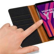 Handy Tasche für Huawei Y7 2018 Hülle Wallet Jeans Case Schutzhülle