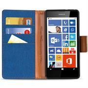Book Wallet für Nokia Lumia 630 Schutzhülle im Jeans-Look austellbar