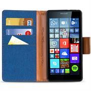 Book Wallet Tasche für Microsoft Lumia 640 Schutzhülle im Jeans-Look