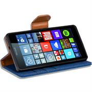 Textil Klapphülle für Microsoft Lumia 640 - Hülle im Jeans Stoff Design Wallet Tasche