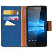 Textil Klapphülle für Microsoft Lumia 650 - Hülle im Jeans Stoff Design Wallet Tasche