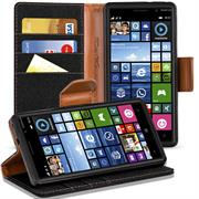 Book Wallet für Nokia Lumia 830 Schutzhülle im Jeans-Look aufstellbar