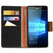 Book Wallet Tasche für Microsoft Lumia 950 Schutzhülle im Jeans-Look