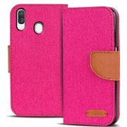 Book Wallet Hülle für Samsung Galaxy A20e Schutzhülle im Jeans-Look