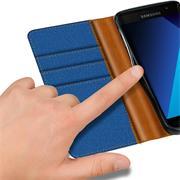 Textil Klapphülle für Samsung Galaxy A3 2017 (A520) - Hülle im Jeans Stoff Design Wallet Tasche