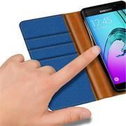 Textil Klapphülle für Samsung Galaxy A5 2016 - Hülle im Jeans Stoff Design Wallet Tasche