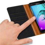 Handy Tasche für Samsung Galaxy A5 2016 Hülle Wallet Jeans Case Schutzhülle