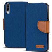 Book Wallet Hülle für Samsung Galaxy A70 Schutzhülle im Jeans-Look