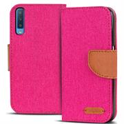 Textil Klapphülle für Samsung Galaxy A7 2018 - Hülle im Jeans Stoff Design Wallet Tasche