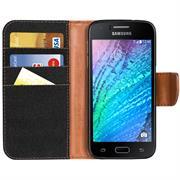 Textil Klapphülle für Samsung Galaxy J1 - Hülle im Jeans Stoff Design Wallet Tasche