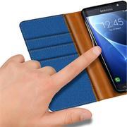 Book Wallet für Samsung Galaxy J3 2016 Schutzhülle im Jeans-Look