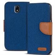 Textil Klapphülle für Samsung Galaxy J7 2017 J730 - Hülle im Jeans Stoff Design Wallet Tasche