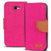 Textil Klapphülle für Samsung Galaxy J4 Plus - Hülle im Jeans Stoff Design Wallet Tasche